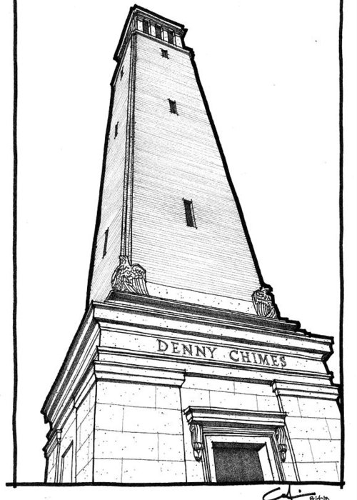 Sketch Greeting Card featuring the drawing Denny Chimes by Calvin Durham