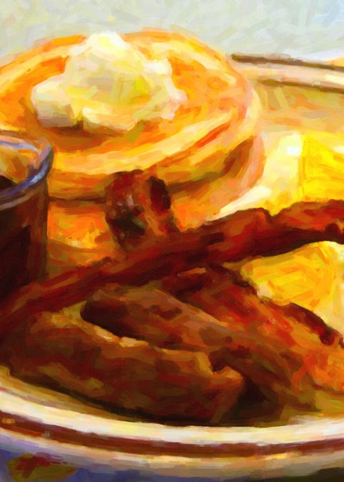 Breakfast Greeting Card featuring the photograph Denny's Grand Slam Breakfast - Painterly by Wingsdomain Art and Photography