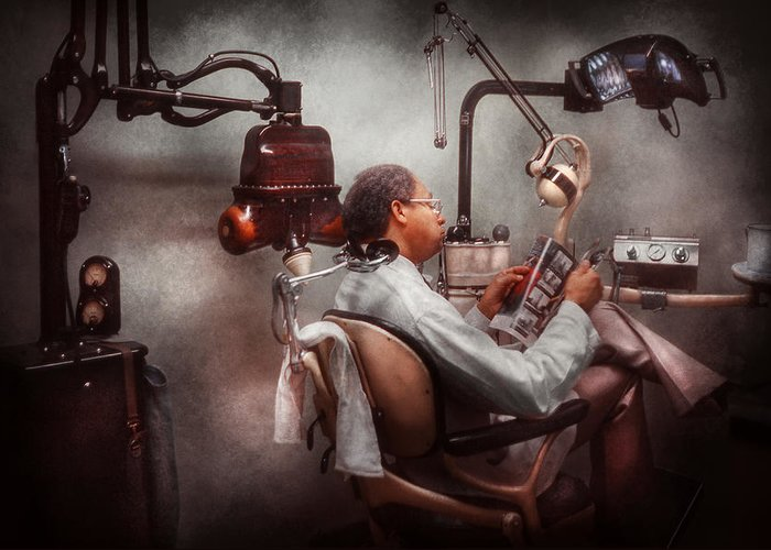 Doctor Greeting Card featuring the photograph Dentist - Waiting For The Dentist by Mike Savad