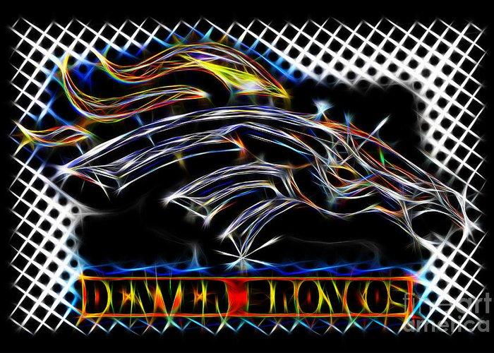 Denver Broncos Greeting Card featuring the digital art Denver Broncos 3 by Danny Campbell