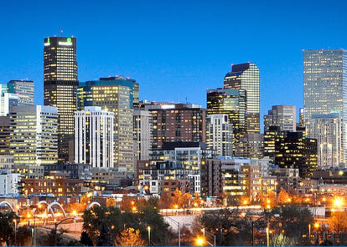 Denver Greeting Card featuring the photograph Denver Twilight by Kevin Munro