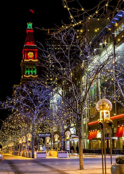 16th Street Mall Greeting Card featuring the photograph Denver's 16th Street Mall During Holidays by Teri Virbickis