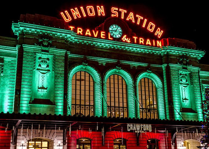 Christmas Greeting Card featuring the photograph Denver's Union Station by Teri Virbickis
