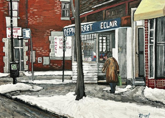 Paintings Greeting Card featuring the painting Depanneur Arret by Reb Frost