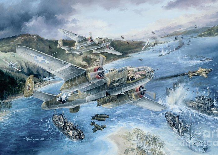 Aviation Art Greeting Card featuring the painting Derailing The Tokyo Express by Randy Green