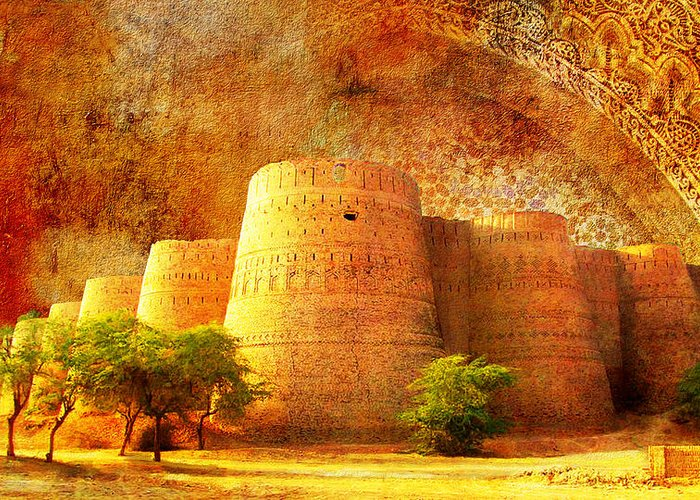 Pakistan Greeting Card featuring the painting Derawar Fort by Catf