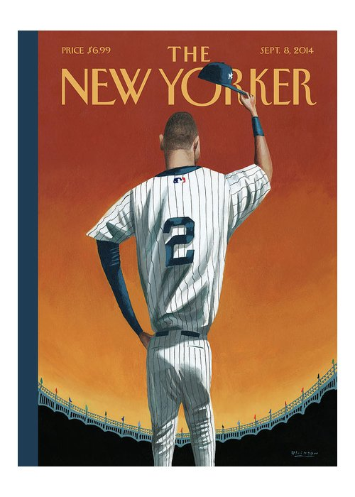 Retirement Greeting Card featuring the painting Derek Jeter Bows Out by Mark Ulriksen