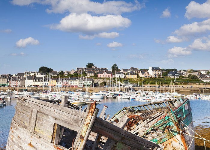 Brittany Greeting Card featuring the photograph Derelict Fishing Boats Camaret Sur Mer Brittany by Colin and Linda McKie