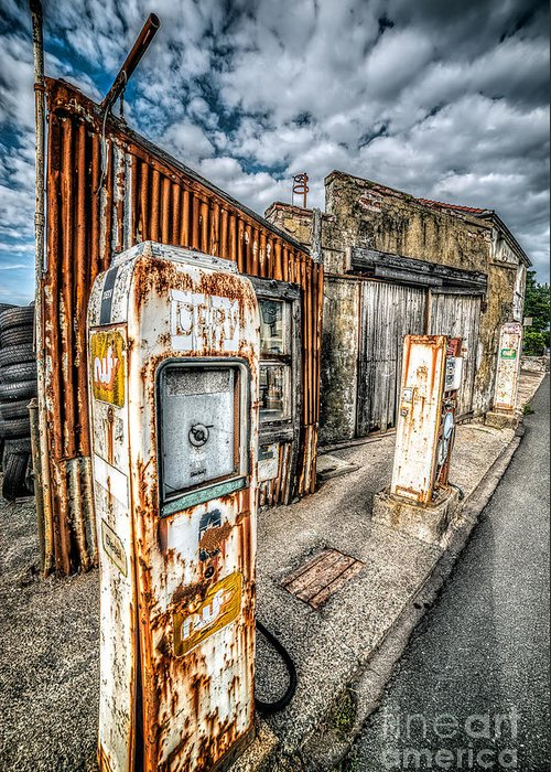 Derelict Greeting Card featuring the photograph Derelict Gas Station by Adrian Evans