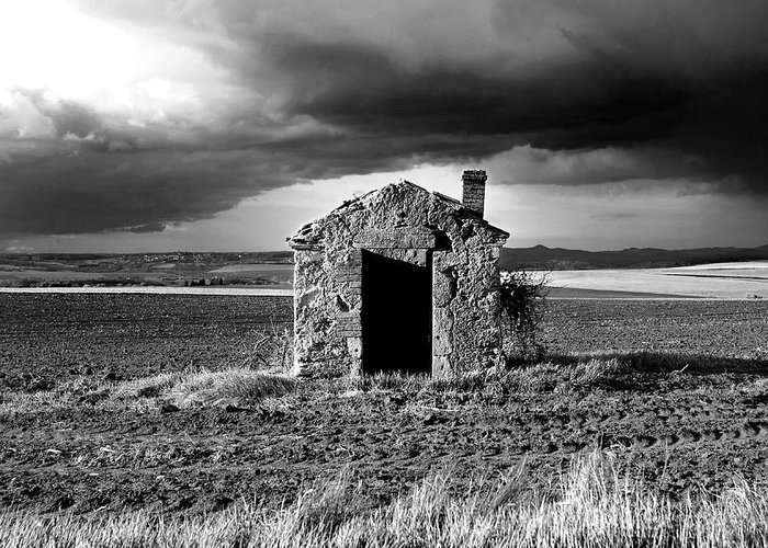 The Greeting Card featuring the photograph Derelict Stone Shed In Auvergne. France by Bernard Jaubert