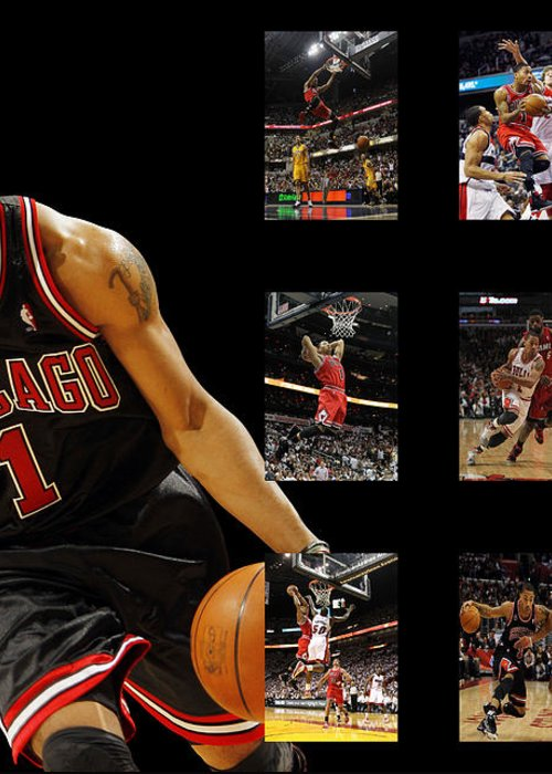 Derrick Rose Greeting Card featuring the photograph Derrick Rose by Joe Hamilton