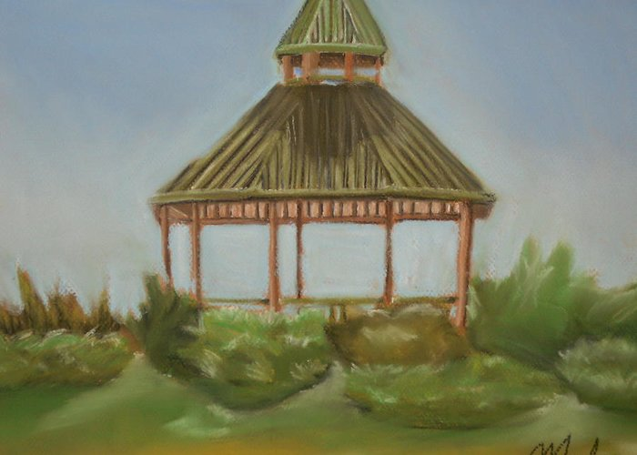 Gazebo Greeting Card featuring the pastel Derryfield Park by Kathy Mota