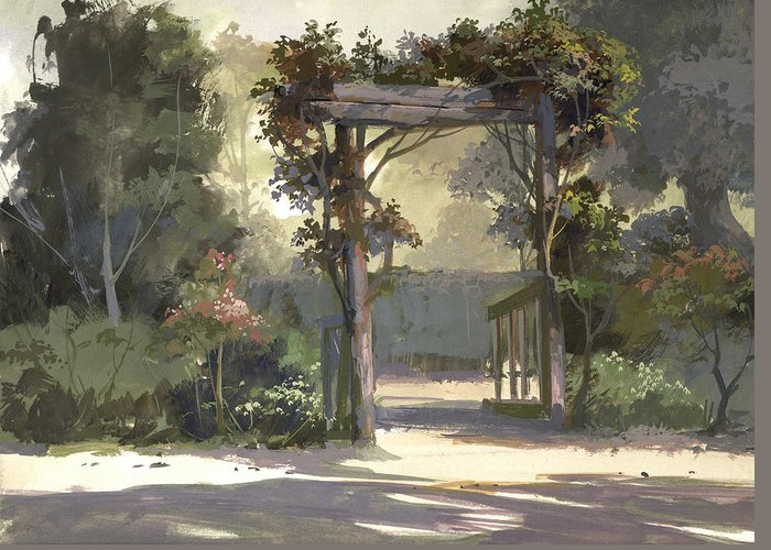 Landscape Greeting Card featuring the painting Descanso Gardens by Michael Humphries