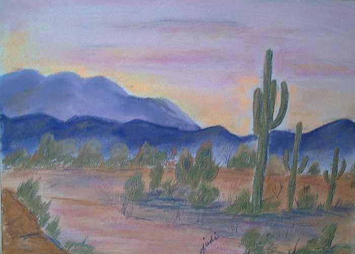 Desert Greeting Card featuring the painting Desert Aglow by Judi Pence