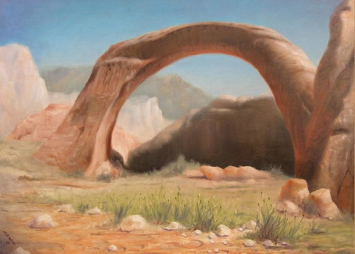 Realism Greeting Card featuring the painting Desert Arch by Donelli DiMaria