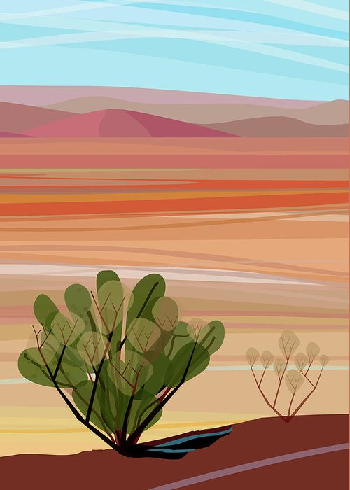 Saguaro Cactus Greeting Card featuring the photograph Desert, Cactus Brush, Mountains In by Charles Harker