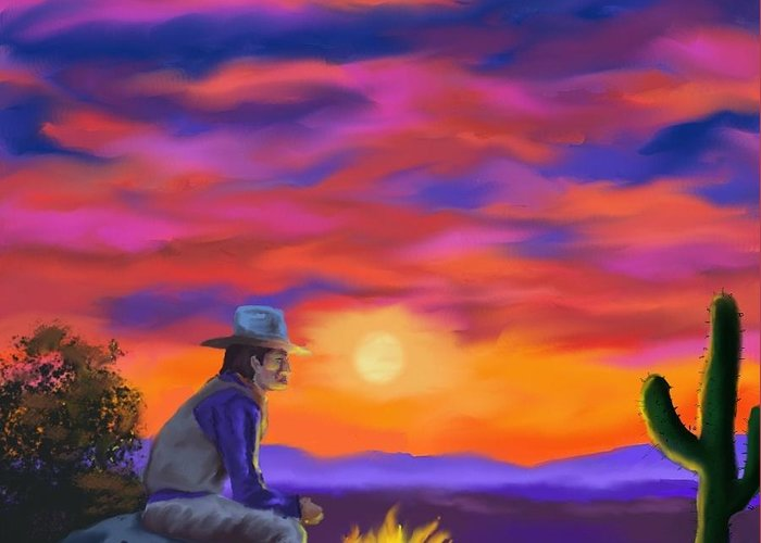 Sunset Greeting Card featuring the digital art Desert Camp by Brad Simpson