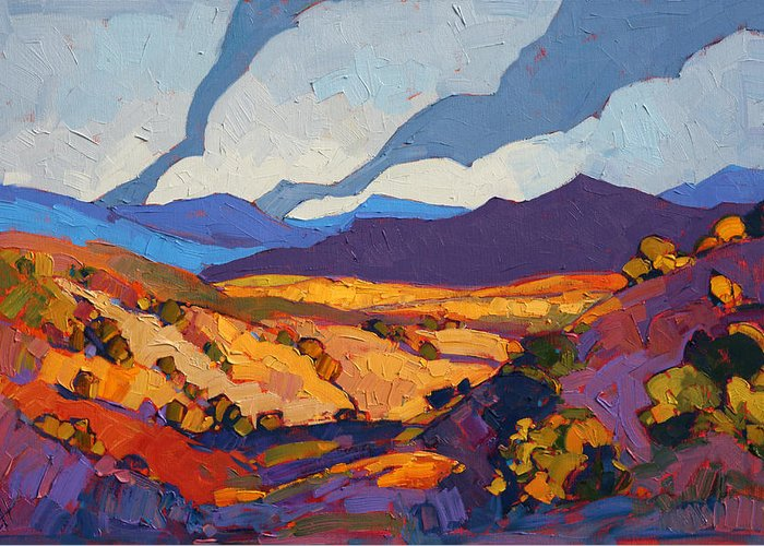 New Mexico Greeting Card featuring the painting Desert Contrast by Erin Hanson