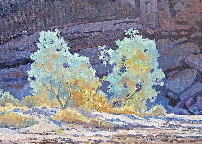 Smoke Trees Greeting Card featuring the painting Desert Contrasts by Lynne Fearman