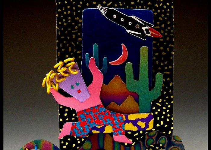 Whimsical Greeting Card featuring the jewelry Desert Dancer by Barbara Lager