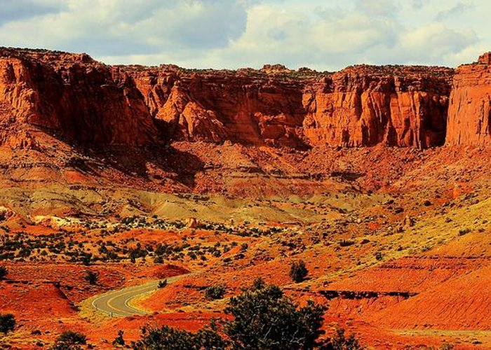 Capitol Reef Greeting Card featuring the photograph Desert Drive by Benjamin Yeager