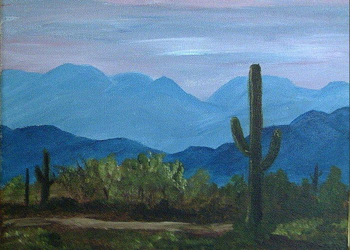 Desert Greeting Card featuring the painting Desert Evening by Judi Pence