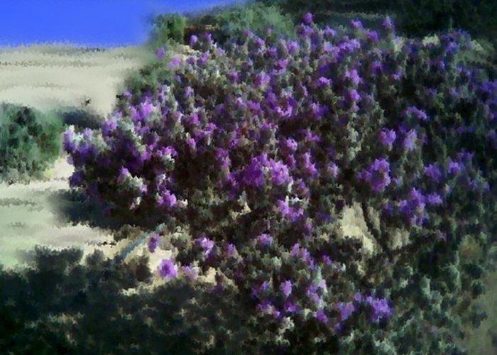 Landscape Greeting Card featuring the digital art Desert flowers by Dr Loifer Vladimir