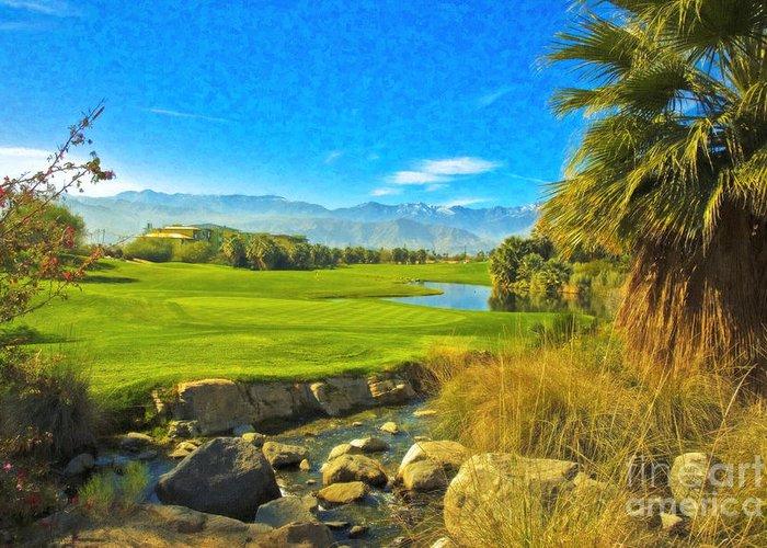 Golfing At Desert Willow Golf Course Palm Desert Ca Greeting Card featuring the photograph Desert Golf Resort Pastel Photograph by David Zanzinger
