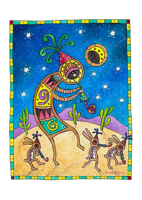 Kokopell Greeting Card featuring the painting Desert Holiday Celebration by Mark Hicks