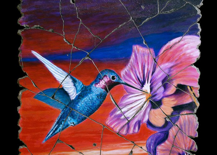 Hummingbird Greeting Card featuring the painting Desert Hummingbird by Steve Bogdanoff