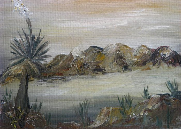 Desert Greeting Card featuring the painting Desert In Monachrome by Judi Pence