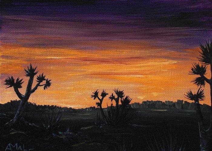 Calm Greeting Card featuring the painting Desert Night by Anastasiya Malakhova