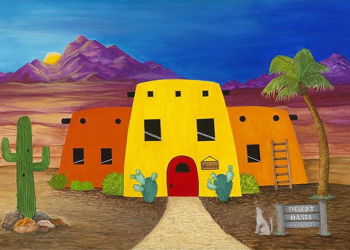 Whimsicle Desert Inn Has Vacancy Greeting Card featuring the painting Desert Oasis by Carol Sabo