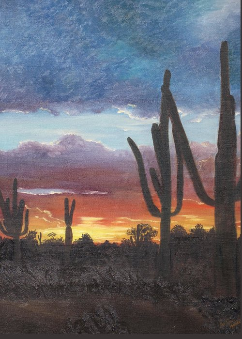 painted Desert Greeting Card featuring the painting Desert Silhouette by Barbara McDevitt