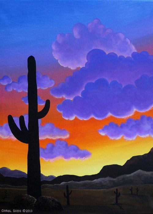 Desert Greeting Card featuring the painting Desert Sunset by Carol Sabo