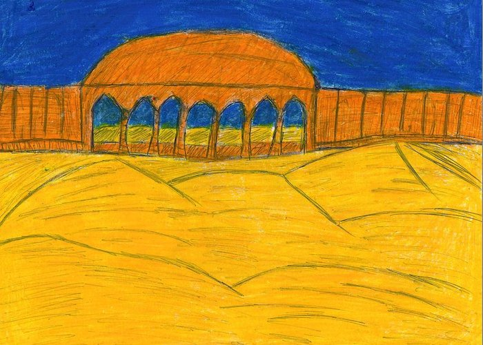 Lake Nasser Greeting Card featuring the drawing Desert Temple by Frances Garry