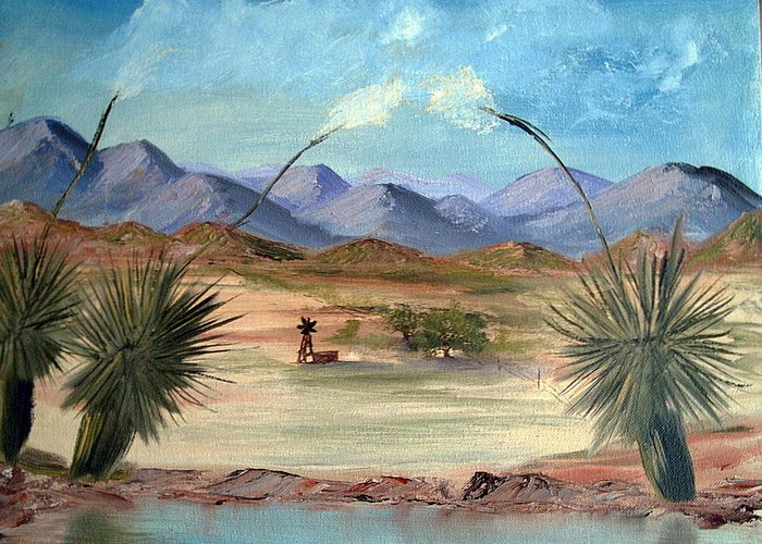 Desert Greeting Card featuring the painting Desert Water Tank by Judi Pence