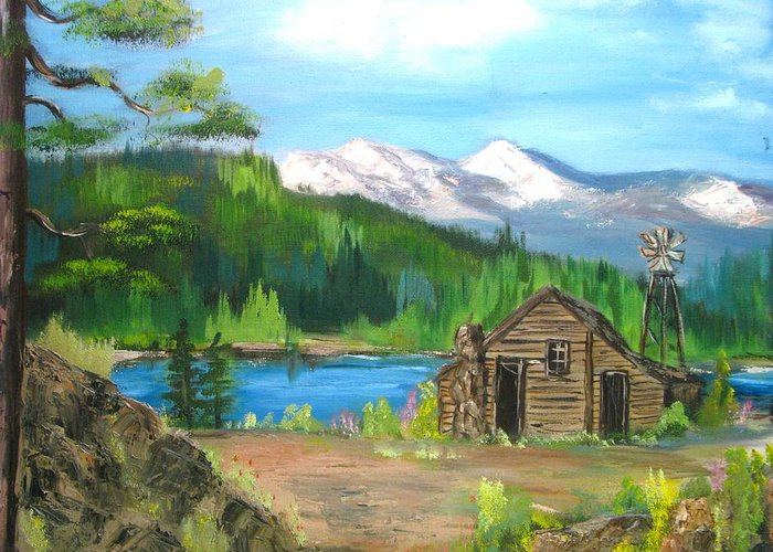 Cabin On Lake Greeting Card featuring the painting Deserted Cabin by Judi Pence