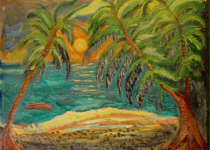 Tropical Greeting Card featuring the painting Deserted Tropical Sunset by Louise Burkhardt