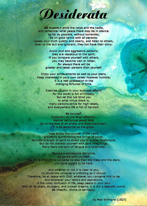 Desiderata Greeting Card featuring the painting Desiderata 2 - Words of Wisdom by Sharon Cummings