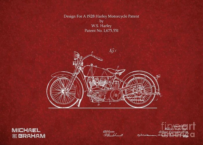 Harley Greeting Card featuring the photograph Original Design For A 1928 Harley Motorcycle by Doc Braham