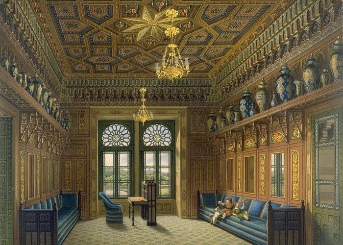 Moorish Style Greeting Card featuring the drawing Design For The Grand Reception Room by Karl Ludwig Wilhelm Zanth