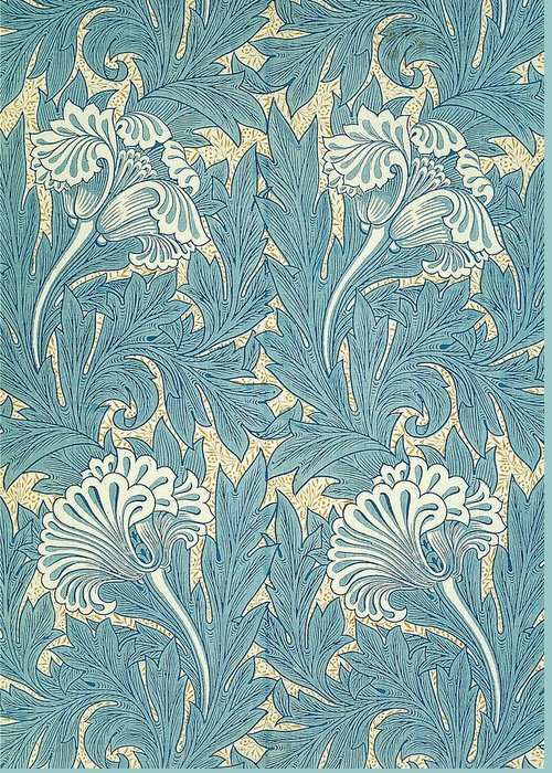 William Greeting Card featuring the digital art Design In Turquoise by William Morris