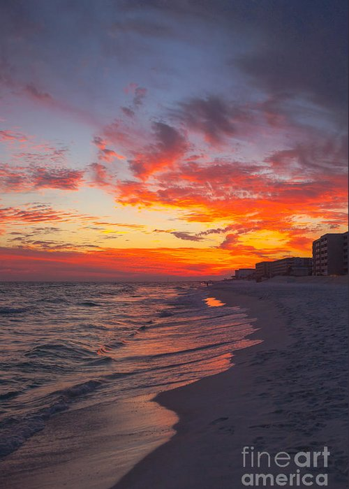 Destin Greeting Card featuring the photograph Destin Sunset by Kay Pickens
