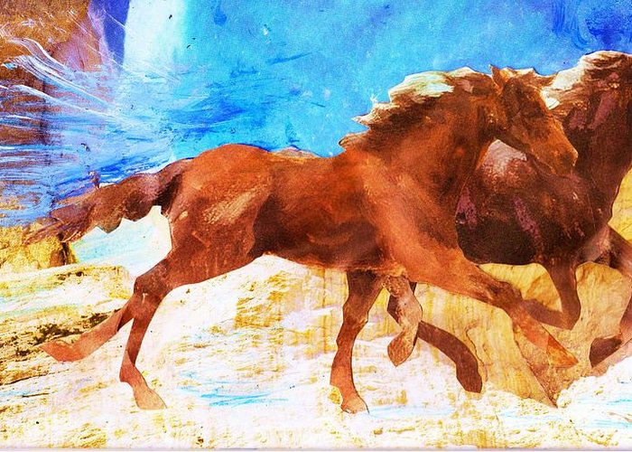 Mixed Media Greeting Card featuring the painting Destination Bound by Anne-Elizabeth Whiteway