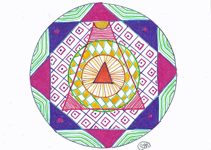 Mandala Greeting Card featuring the drawing Destination by Signe Beatrice