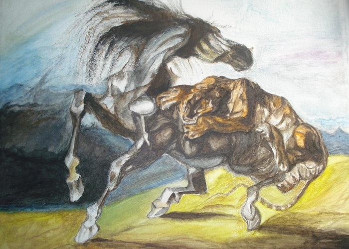Tiger Attacks An Wild Horse Greeting Cards
