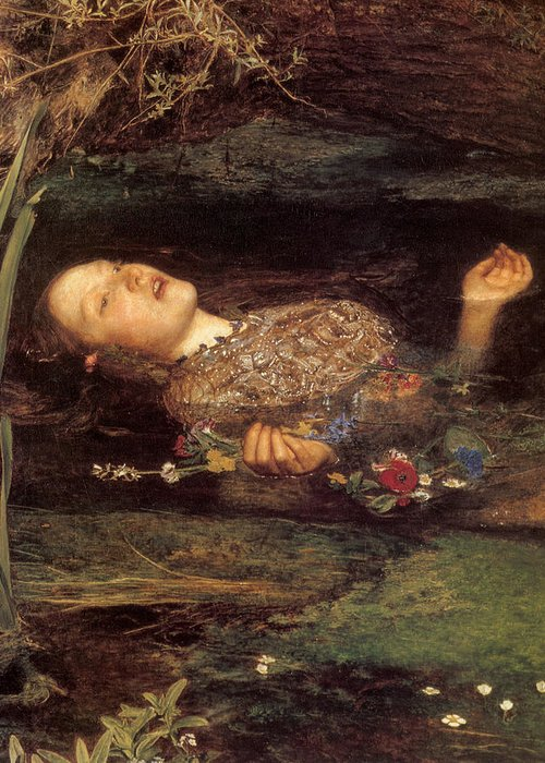 Ophelia Greeting Card featuring the painting Detail From Ophelia by Philip Ralley