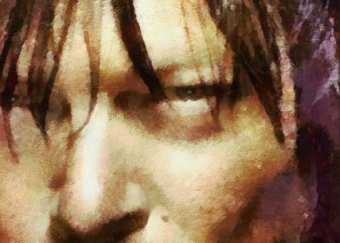 Daryl Dixon Greeting Card featuring the painting Detail Of Daryl Dixon by Janice MacLellan