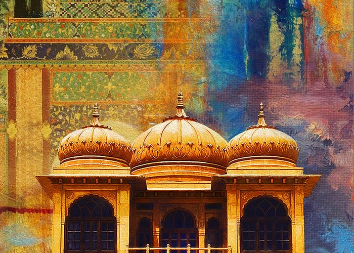Pakistan Greeting Card featuring the painting Detail Of Mohatta Palace by Catf